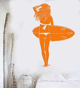Vinyl-Wall-Decal-Surfing-Sports-Girl-Beach-Surf-Ocean-Stickers-Mural-ig4222