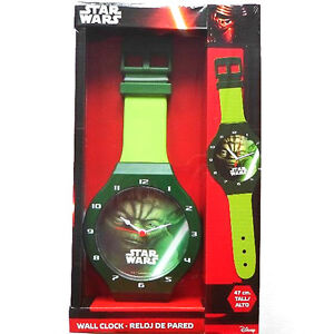 Star-Wars-Wanduhr-47-cm-NEU-amp-OVP-Gruen-mit-Motiv-Yoda