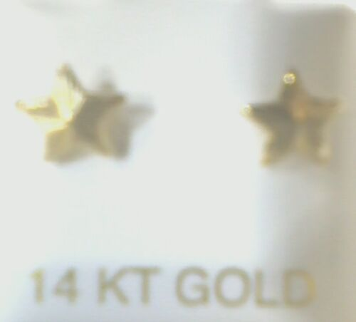 14k Real Yellow Gold 6.5mm Diamond Cut Star Stud Earrings Screw Back
