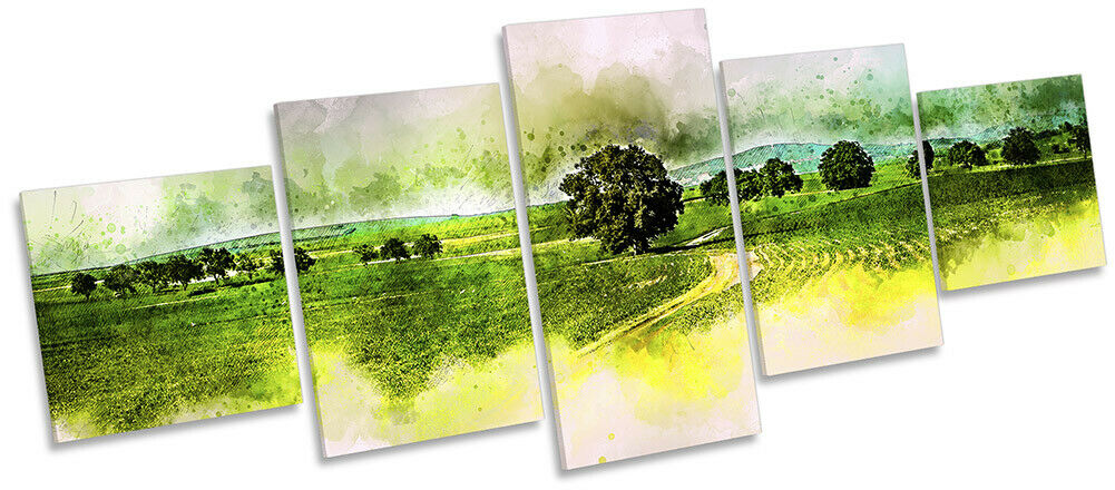 Countryside Summer Trees Picture CANVAS WALL ART Five Panel Grün