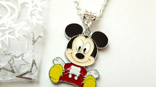 MICKEY MOUSE 18 INCH  NECKLACE STRONG SILVER PLATED  GIFT BOX BIRTHDAY PARTY