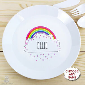 Image is loading PERSONALISED-Childrens-Plate-Rainbow-Plastic-KIDS-Dinner- Plate-  sc 1 st  eBay & PERSONALISED Childrens Plate Rainbow. Plastic KIDS Dinner Plate ...