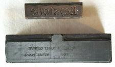 2 Keystone Pipe Antique Printing Press Blocks Wood Amp Metal Copper Advertising