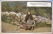Irish Postcard OLD WOMAN SPINNING Wheel by Roadside Eva Brennan Val CarboColour