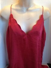 Free People NWT S Sensual Satin Scallop Camisole Top Small Burnt Earth