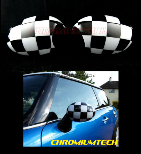 MK1 MINI Cooper//S//ONE R50 R52 R53  Chequered Flag Wing MIRROR Caps Cover for LHD
