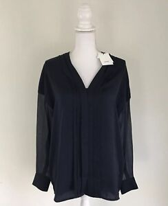 Vince-Blouse-Women-s-Size-6-Blue-Cob-295-Navy-Silk-Polyester-Contrast-High-Low