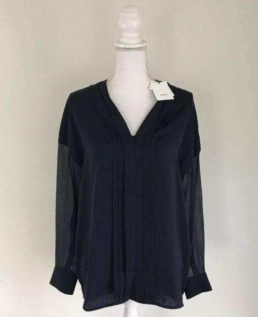 Vince Blouse Women's Size 6 Blue Cob $295 Navy Silk Polyester Contrast High Low