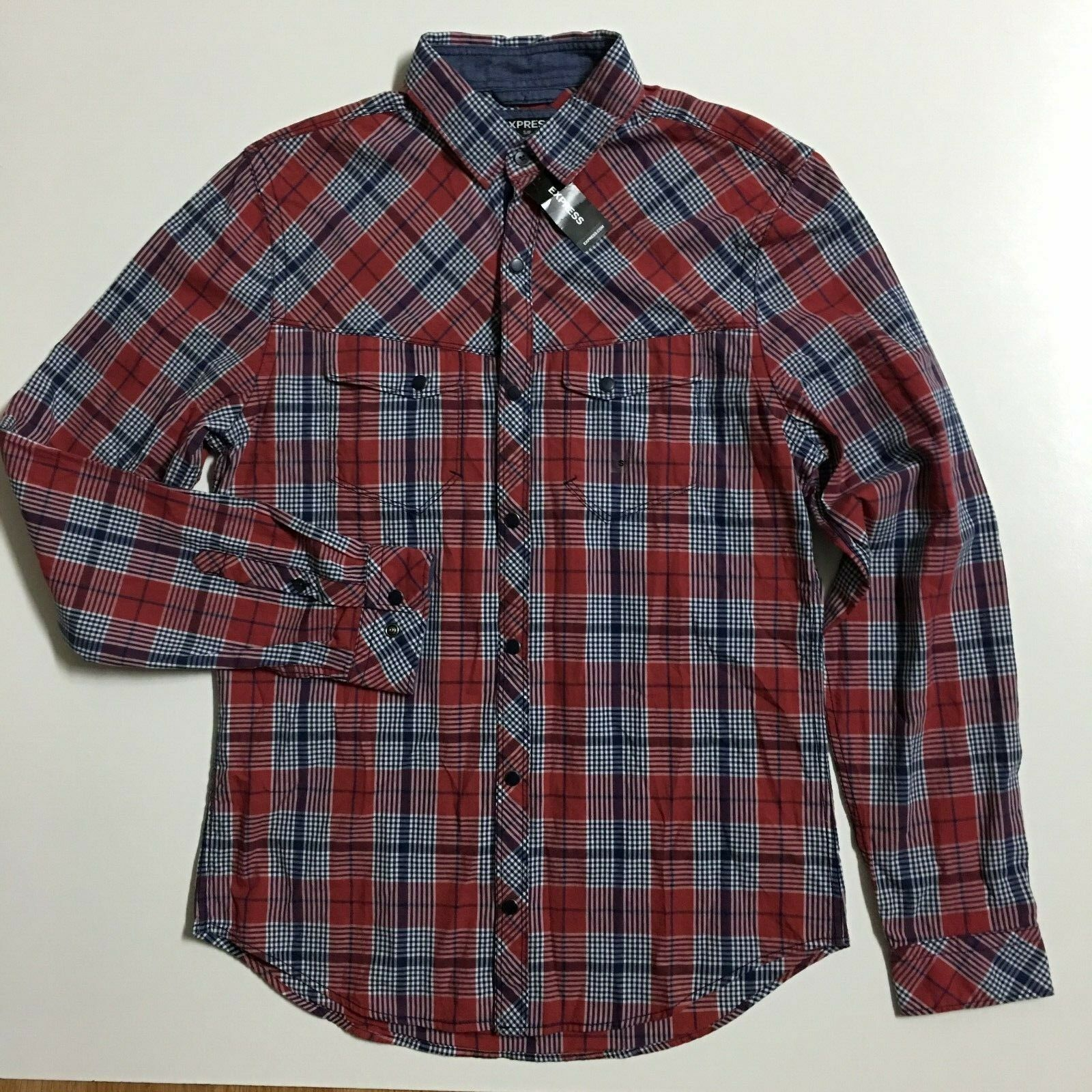 NWT  Express Mens S Red bluee Plaid Snap Button Front Long Sleeve Shirt Cotton