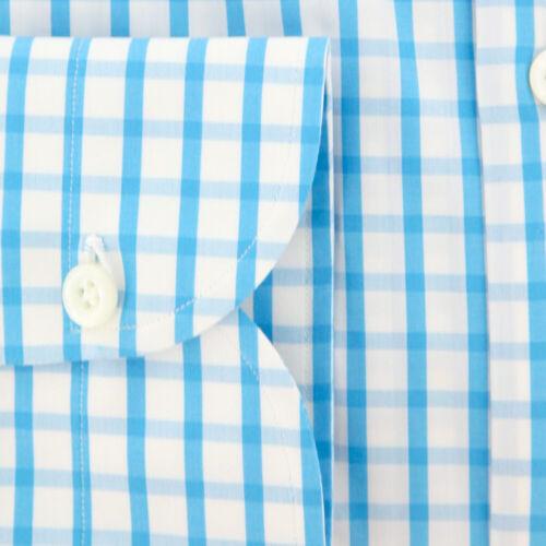 New $600 Luigi Borrelli Light Blue Check Shirt EV06451872STEFANO