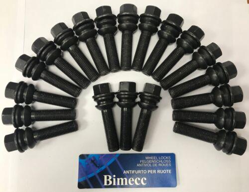 ALLOY WHEEL BOLTS X 20 M14X1.5 R14 BLACK FLOATING COLLAR 37mm THREAD FOR AUDI Q7