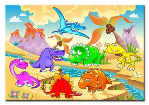 Kunstdruck Leinwand kinderbild lustige dinosaurier gerahmt kunstdruck leinwand