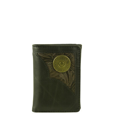 BROWN VEGAN CAMO LEATHER 12 GAUGE EMBLEM MENS RODEO BIFOLD WALLET WEST WOLF