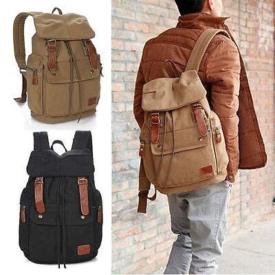 Men's Vintage Canvas School Backpack Travel Hiking Laptop Rucksack Camping Bag