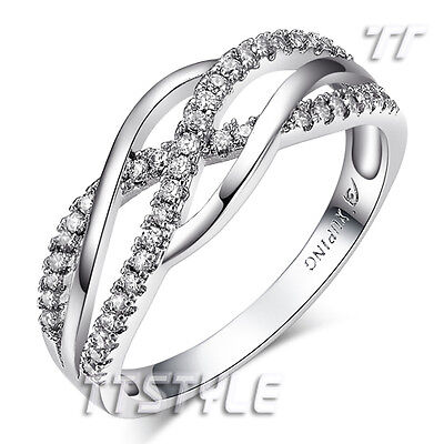 TTstyle Waved Clear CZ Micro Pave Wedding Band Ring Size 6-8 NEW Arrival