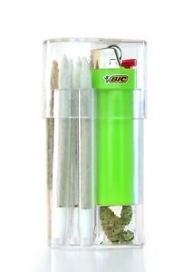 Smoke-Space-Cigarette-Case-Bic-Lighter-Smoking-Accessories-Solid-Silver