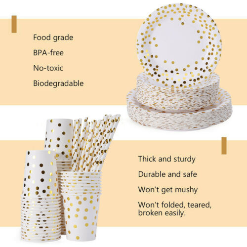 Plates And Cups Disposable Gold 250pcs Set Paper Straws Wedding Party Cutlery