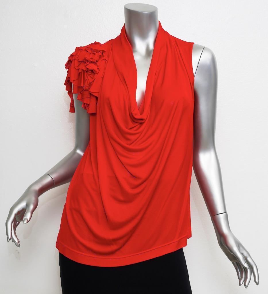 BOUDICCA damen rot Sleeveless Draped Blouse Shirt Top 12