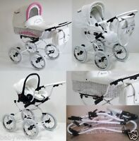 Scarlett Wicker Baby Pram Travel System + Stroller + Car Seat Option 3 Colours
