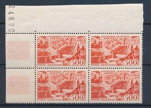 1949-TIMBRE-POSTE-AERIENNE-Bloc-de-4-N-27-500f-rouge-Marseille-N-P4550