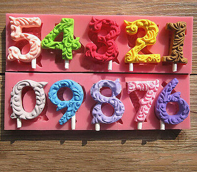 Kids Number 0-9 Silicone Lollipop Mold Fondant Cake Decoration Chocolate Mould