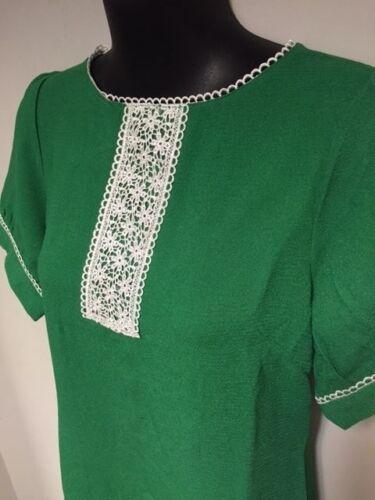 MOD Abito Manica Corta Nero Verde Bianco Dettaglio in Pizzo 1960s Retro 8-12 vendita