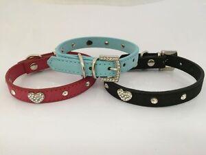 Cuero-PU-Collar-de-Perro-Cachorro-Mascota-Diamante-2-Tamanos-4-Colores-Bling-corazon-amp-Stud