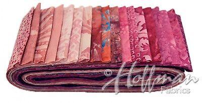 """Hoffman Bali Poppy Batik 2.5/"""" Strips Jelly Roll Rollup Fabric Yankee 668"""