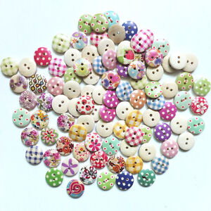 100Pcs-Pop-Mixed-Bulk-Circle-Phantom-Wooden-Sewing-Button-Scrapbooking-2Holes