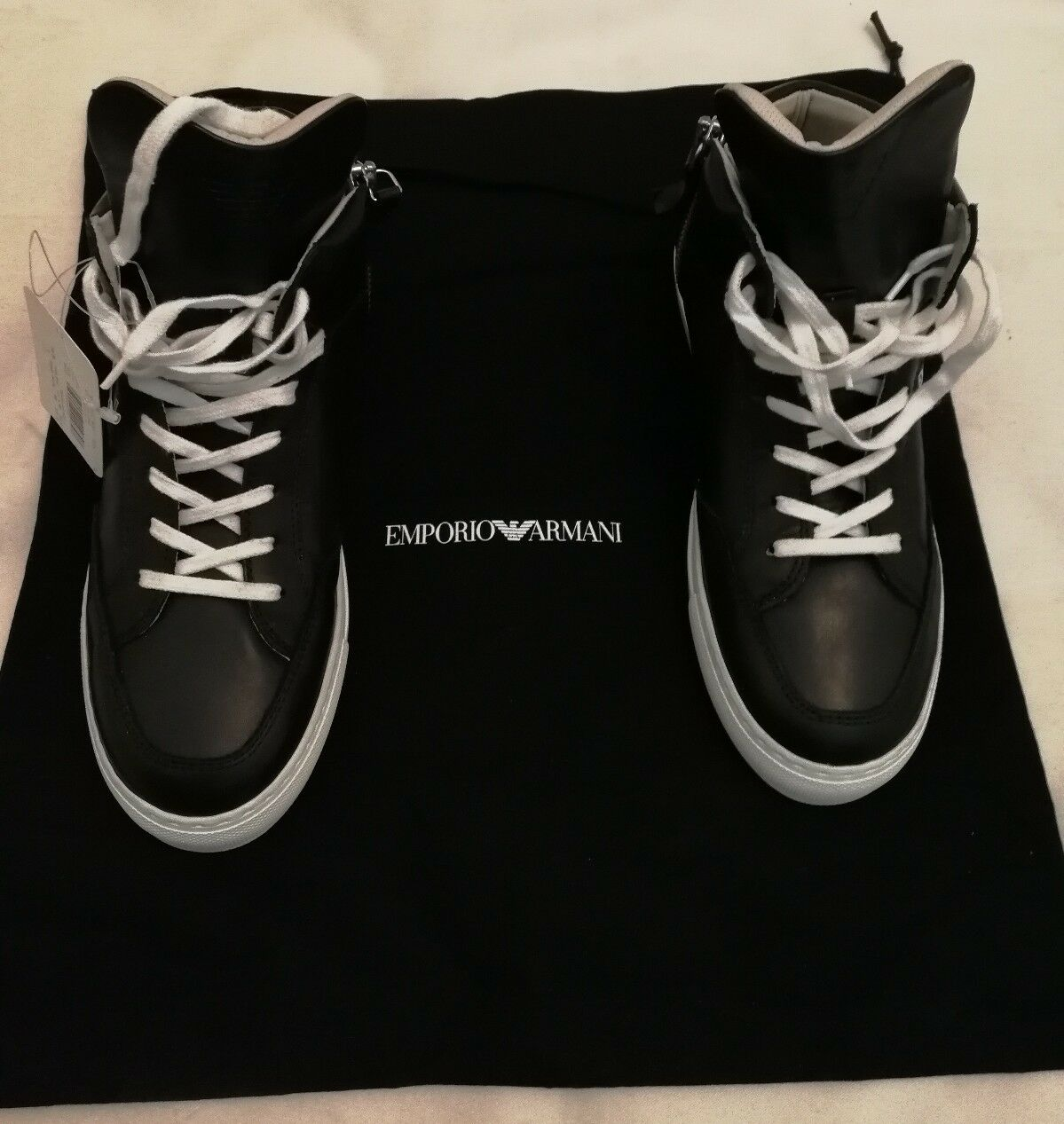 EMPORIO ARMANI K4Z026 Hi top Leather Lace-up Sneakers Shoes Black uk 5.5