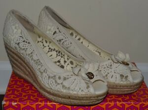 ea5eb91322b4 New Tory Burch Wedges Shoes Wedge White Lace 10.5 Peep Toe  225 ...