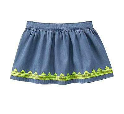 NWT Gymboree Butterfly Fields Girls Cute 100/% Cotton Embroidered Chambray Skirt