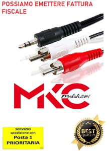 Cavo 0,5m a 5mt Audio JACK 3,5mm 2 RCA Maschio doppio Prolunga Auto AUX Ste