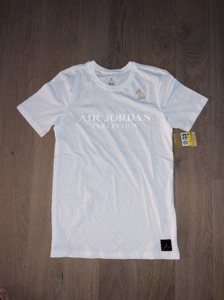 OVO X Jordan White T Shirt gold Owl Logo Size Small