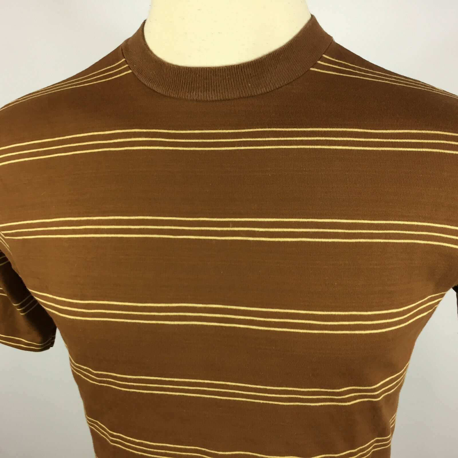 Vintage 50s 60s Shelfield Knit Surf Stripe Brown … - image 4
