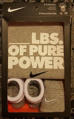 "NWT NIKE 3 piece infant set 0-6 months  /"" /_lbs of pure power/"" IBSP0953"