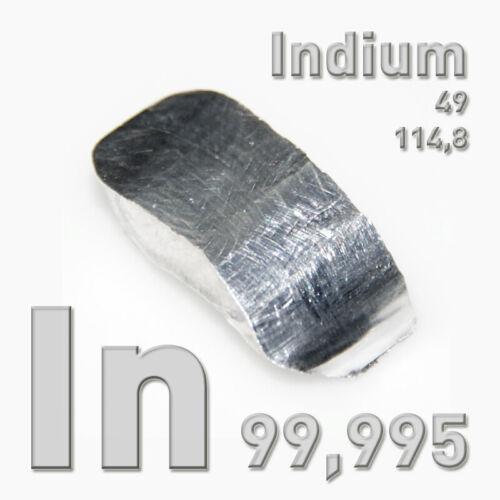 100g Indium Metall Element In 99,995/% CAS 7440-74-6 pure metal Reinmetall 4N5 kg