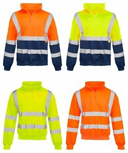 Mens-Quarter-Zip-Hi-Vis-Long-Sleeve-Fleece-2-Two-Tone-Sweatshirt-Jumper-Top