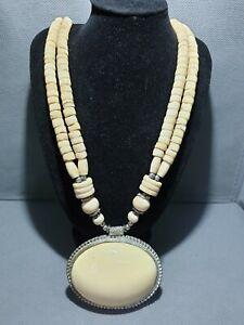 Vintage-Bovine-Bone-Long-Chunky-bead-cabochon-shape-pendent-Statement-Necklace