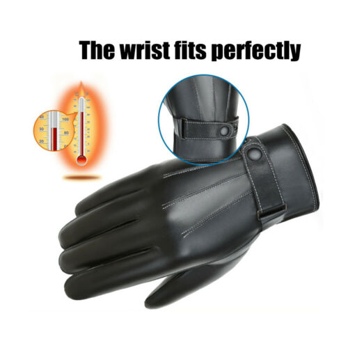 Waterproof Windproof Leather Gloves Touch Screen Driving Gloves Fleece Thermal