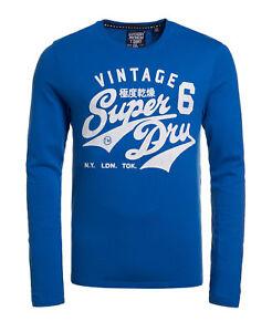 New Mens Superdry Stacker Long Sleeve T-shirt Royal