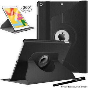 Housse Etui Noir pour Apple iPad 10.2 2020 Coque avec Support Rotatif 360°
