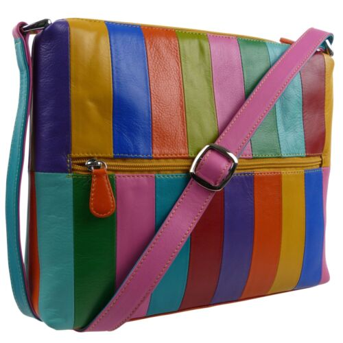 Ladies LEATHER ColourfuL Shoulder Bag by Ili New York Rainbow