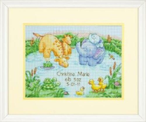 """Dimensions LITTLE POND BIRTH RECORD 70-73697 COUNTED CROSS STITCH 12/"""" X 9/"""""""
