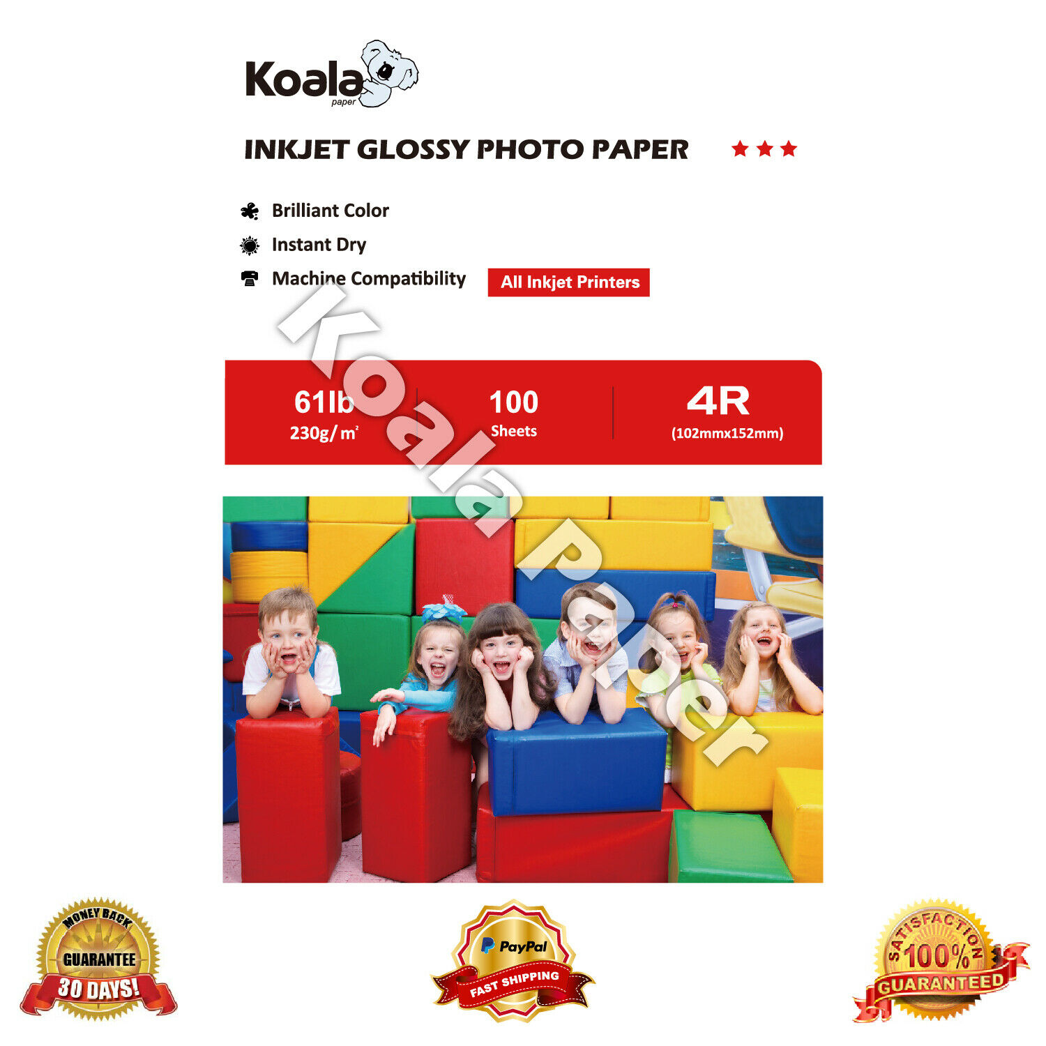 """100 Sheets 6 x 4/"""" 230 gsm High Glossy with Premium Quality Photo Paper by EW"""