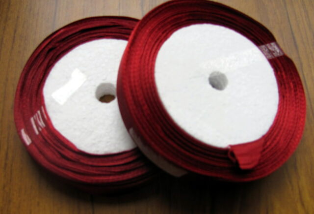 "2 X 25yds 20m roll 12mm 1/2"" RICH BURGUNDY DEEP RED satin ribbon CHRISTMAS 2NDS"