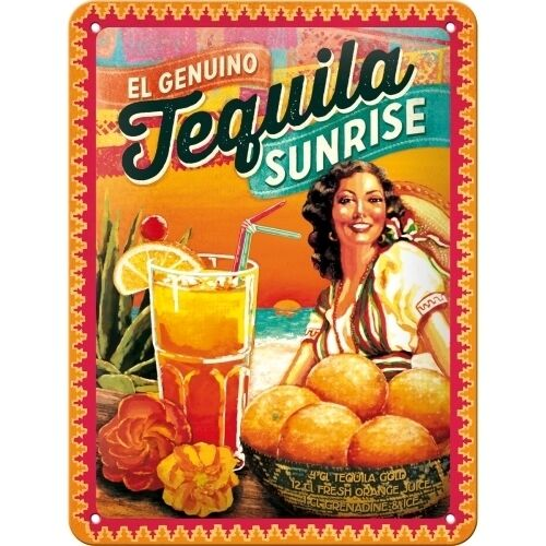Tequila Sunrise Drink Recipe Cocktail Bar Pub Retro Small 3D Metal Embossed Sign