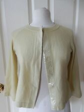 NEIMAN MARCUS 100% CASHMERE SEQUIN CROP CARDIGAN SWEATER SMALL