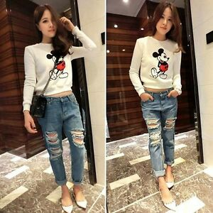 JEANS Destroyed Ripped Distressed Womens Skinny Boyfriend Acid ...