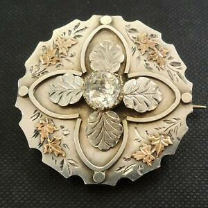 Victorian-Sweetheart-Silver-Gold-Paste-Stone-Brooch-Circa-1880-90s